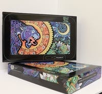 """Pulsar Glow LED Rolling Tray - 11"""" x 7""""/Psychedelic Jaguar/Green"""
